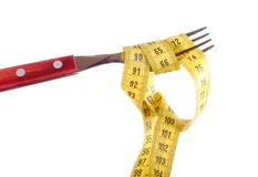 A fork with a tape measure Stock Image