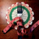 Fork and tape measure Stock Image
