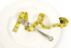 Fork and Tape Measure Royalty Free Stock Photo