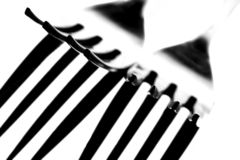 Fork Tines Macro. Abstract background design of  close-up of fork tines Royalty Free Stock Image