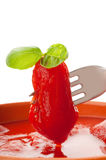 Fork with tomato Stock Photography