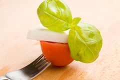 Fork with tomatoe and mozzarella Royalty Free Stock Image
