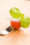 Fork with tomatoe and mozzarella Stock Photo