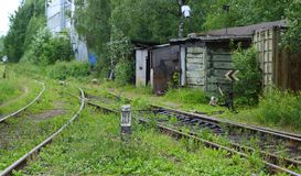 The old railway. The fork in the train tracks stock photography