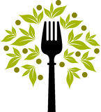 Fork tree logo. Illustration art of a fork tree logo with isolated background vector illustration