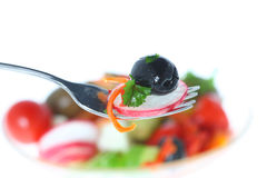 Fork with vegetables. Stock Image