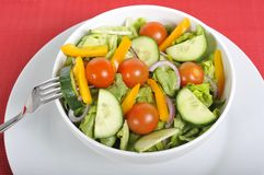 Fork in vegetables healthy salad bowl Royalty Free Stock Image