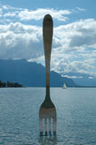 Fork in water in Vevey at Geneve lake in Switzerland Royalty Free Stock Photography