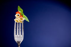 Fork With Pasta And Tomato Sauce - Wallpaper Royalty Free Stock Photography