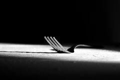 Fork on wood table Royalty Free Stock Images