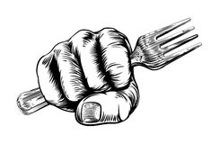 Fork Woodcut Fist Hand. A vintage etched woodcut style fist holding a fork Royalty Free Stock Images