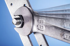 Fork wrench and nut Stock Photo