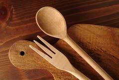 Fork y cuchara de madera Imagen de archivo libre de regalías