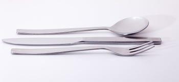 Fork y cuchara modernas del cuchillo del acero inoxidable Foto de archivo libre de regalías