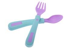 Fork y cuchara plásticas Imágenes de archivo libres de regalías