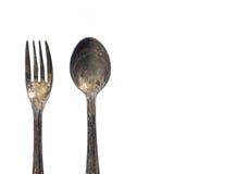 Fork y cuchara viejas Fotografía de archivo libre de regalías