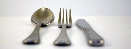 Fork y cuchara y cuchillo Fotografía de archivo libre de regalías