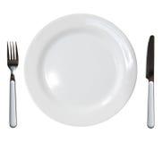 Fork y cuchillo de la placa Foto de archivo libre de regalías
