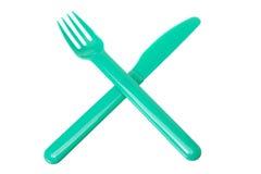 Fork y cuchillo plásticos Foto de archivo