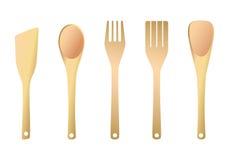 Fork y espátula de madera para la cocina Imagen de archivo libre de regalías