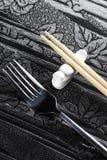Fork y palillos Imagen de archivo libre de regalías