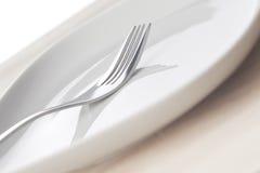 Fork y plato Foto de archivo