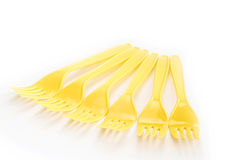 Fork the yellow color Stock Photography