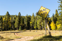 Forked dirt road dead end sign Stock Photography