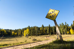 Forked dirt road dead end sign Stock Image