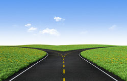Forked road. Fork in the road horizon with grass and blue sky Royalty Free Stock Photography