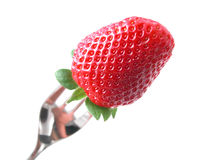 Forked strawberry Stock Image