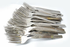 Forkes de plata Fotografía de archivo