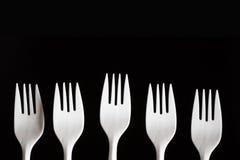 Forkes plásticas Foto de archivo libre de regalías