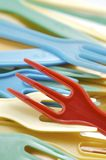 Forkes plásticas Fotografía de archivo libre de regalías