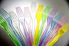 Forkes plásticas Fotos de archivo libres de regalías