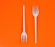 Forkes plásticas Imagen de archivo libre de regalías