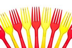 Forkes plásticas coloreadas disponibles Foto de archivo libre de regalías