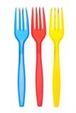 Forkes plásticas coloreadas disponibles Imágenes de archivo libres de regalías