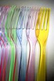 Forkes plásticas coloridas Fotos de archivo libres de regalías