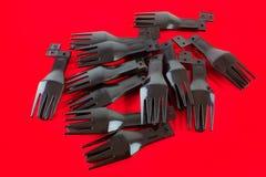 Forkes plásticas disponibles Fotografía de archivo