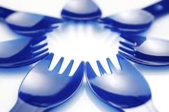Forkes plásticas Imágenes de archivo libres de regalías
