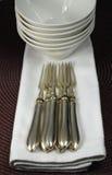 Forkes, tazones de fuente del porcelaine y servilletas de plata fotografía de archivo