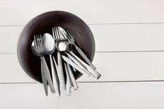 Forkes y cucharas Imágenes de archivo libres de regalías