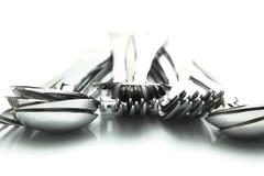 Forkes y cucharas Fotografía de archivo libre de regalías