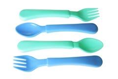 Forkes y cucharas del bebé Imagen de archivo libre de regalías