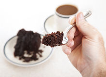 Forkful of Cake stock photography