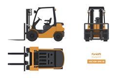 Forklift στο ρεαλιστικό ύφος Τοπ, δευτερεύουσα και μπροστινή άποψη τρισδιάστατο πιάτο εικόνας στηλών κιβωτίων Βιομηχανικό απομονω στοκ εικόνα