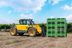 Forklift ο φορτωτής φορτώνει τα πλαστικά κιβώτια σε έναν τομέα σε ένα υπόβαθρο αμπελώνων υπαίθριο στοκ εικόνα