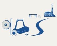 Forklift που μεταφέρει το ρόλο του εγγράφου Στοκ Εικόνες