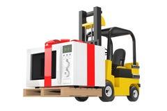 Forklift το φορτηγό κινεί το δώρο φούρνων μικροκυμάτων με την κόκκινα κορδέλλα και το τόξο ελεύθερη απεικόνιση δικαιώματος